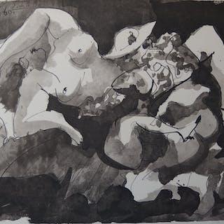 Pablo PICASSO (d'après)- L'amante du toréador, 1960, Lithographie signée