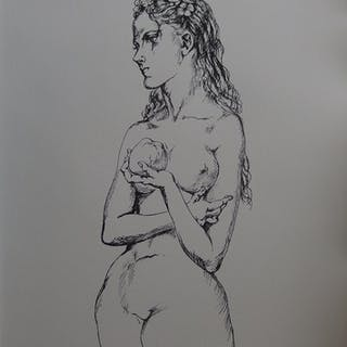 Tsuguharu FOUJITA - Eve à la pomme, Lithographie signée