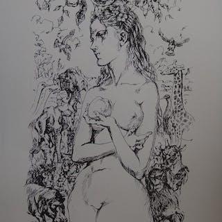 "Tsuguharu FOUJITA - ""Eve au jardin d'Eden"", 1959, Lithographie"