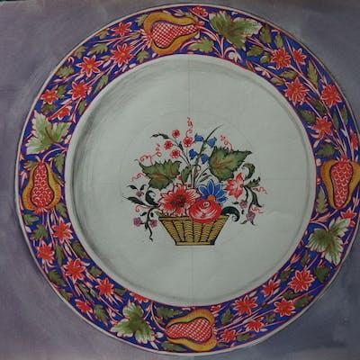 Faiences Rouen - Assiette à la corbeille de fleurs, Gouache originale