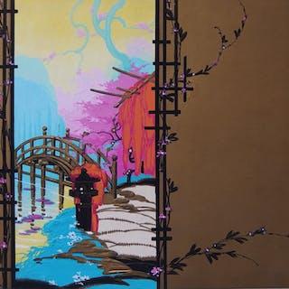 Robert PICHON - Vue sur le jardin japonais, Gouache originale (Belle