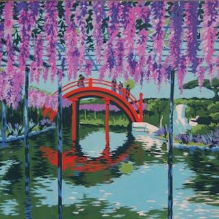 Robert PICHON - Jardin à Giverny au printemps, Gouache originale (Belle