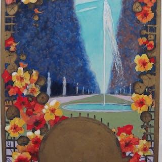 Robert PICHON - Vue de printemps à la fontaine, Gouache originale