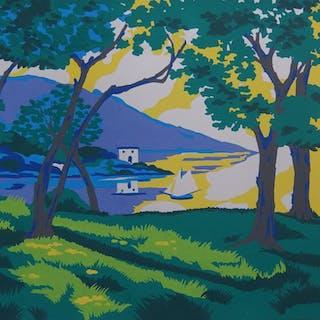 Robert PICHON - La baie au soleil, Gouache originale (Belle époque 1920/30)