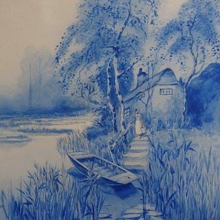 Robert PICHON - Le lac et le brouillard, Aquarelle originale (Belle