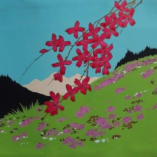 Robert PICHON - Le printemps dans les montagnes, Gouache originale
