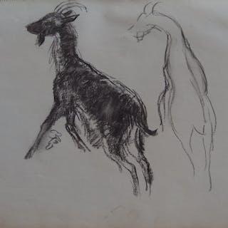 Georges MANZANA-PISSARRO - Les chèvres III, Dessin original