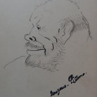 Georges MANZANA-PISSARRO - Tête d'homme de profil, Lot de 2 dessins originaux
