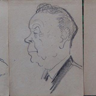 Georges MANZANA-PISSARRO - Trois hommes, Lot de 3 dessins originaux