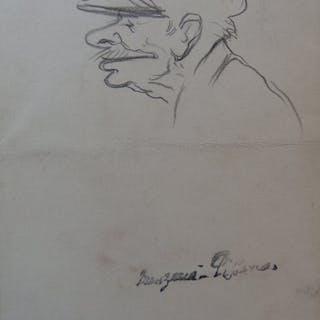 Georges MANZANA-PISSARRO - Trois hommes de profil, Lot de 2 dessins originaux