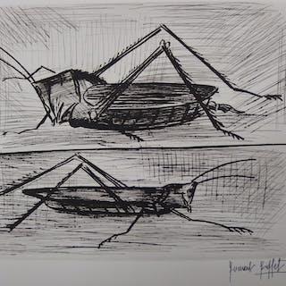Bernard BUFFET - Criquet et sauterelle, Gravure originale signée