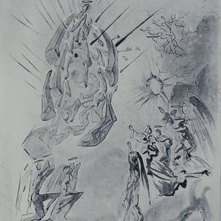 Salvador DALI : PARADIS 26 - Dante recouvre la vue - gravure originale signée