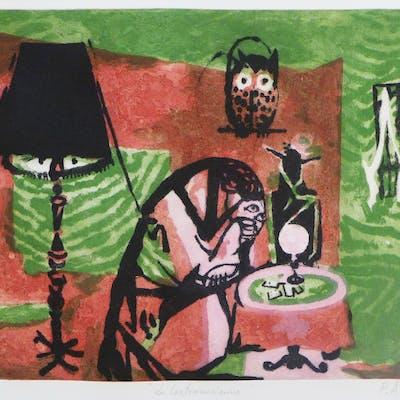 Pierre Gustave Adrien EKMAN - La cartomancienne, 1987, Eau-forte et aquatinte