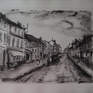 Maurice de VLAMINCK : Le rue populaire, Gravure originale Signée