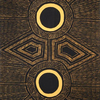 "Peinture aborigène d'Australie, Josephine BURAK, ""Jilamara Design », 2013"