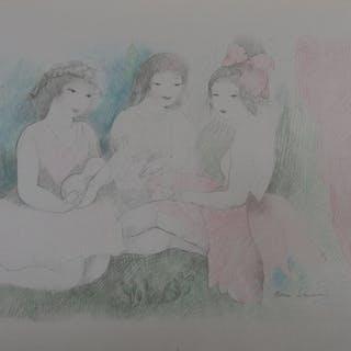 Marie LAURENCIN : Les trois amies avec une guitare; Lithographie signée - 1928