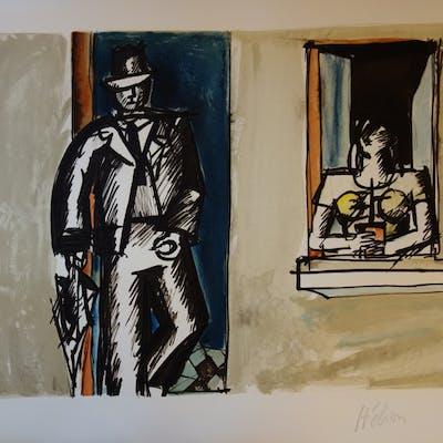 Jean HELION : Roméo & Juliette Modernes, Lithographie originale signée