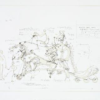 François DELAROZIERE - Boeuf de manège, 2008, lithographie originale