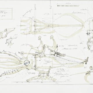 François DELAROZIERE - Le calamar a retropropulsion, lithographie