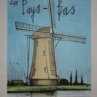 Bernard Buffet - Pays Bas : Le Moulin à Vent, Lithographie originale - 1986