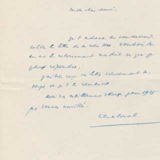 Pierre LAVAL - Lettre autographe signée