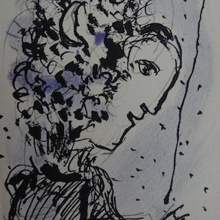 Marc CHAGALL - Le peintre à la palette 1977, lithographie