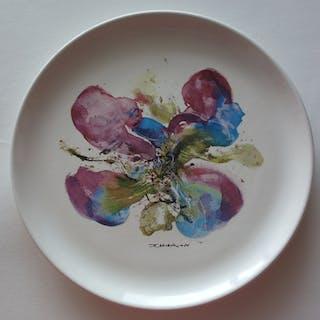 ZAO Wou-Ki : Orchidée, Sérigraphie sur Porcelaine, Signée - 1986