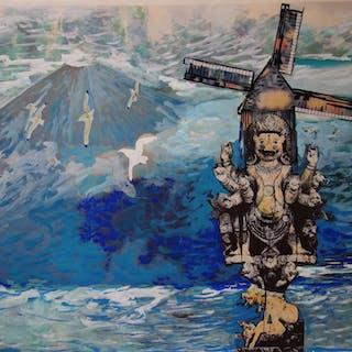 Bernard HERZOG : Tibet : Moulin à Prières, Gouache originale signée (c. 1970)