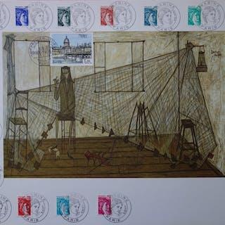 Bernard Buffet (d'après) : Femme au filet, Illustration ornée du timbre