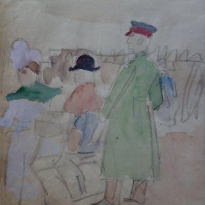 Demetrios GALANIS : Sur la plage à Deauville - Aquarelle originale signée