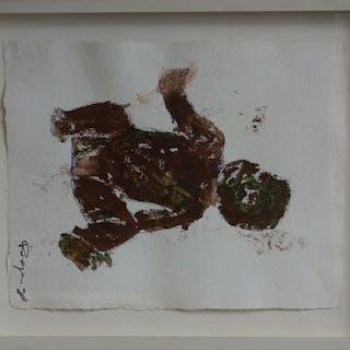 Philippe Pasqua : Enfant assis - Gouache sur papier - Signée