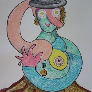 Enrico BAJ : Clown à la médaille - Lithographie originale Signée