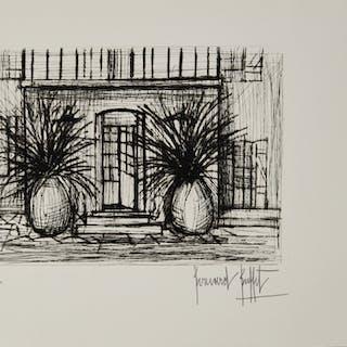 """Bernard BUFFET (1928-1999) The entrance of a house Original drypoint etchning"