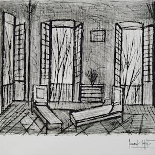 Bernard BUFFET (1928-1999)  Intérieur de maison, Gravure originale signée
