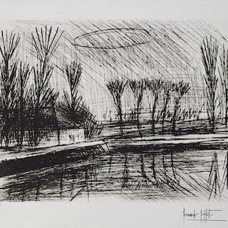 Bernard BUFFET - Près de la rivière, Gravure originale signée