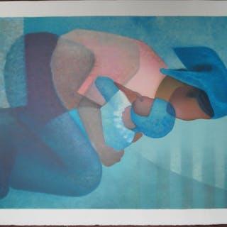 Louis TOFFOLI : Maternité au corsage rose - lithographie originale signée
