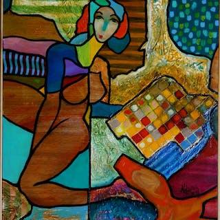 Hassan Ertugrul KAHRAMAN : Entre matin et midi - Acrylique sur panneau signé