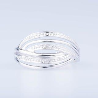 Bague en or blanc 18 ct 2 diamants env. 0,02 ct