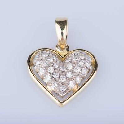 Pendentif coeur  en or jaune 18 ct 30 diamants env. 0,30 ct au total