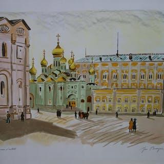 Yves BRAYER : RUSSIE, Coupoles sur la Grande Place - Lithographie