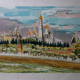 Yves BRAYER : RUSSIE : Monastère orthodoxe - Lithographie originale signée