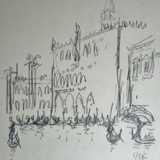 """André HAMBOURG - """"Le Palais des Doges, Venise"""", 1957, Dessin original signé"""