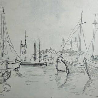 """André HAMBOURG - """"Bateaux à Venise"""" - 1957 , Dessin original signé"""