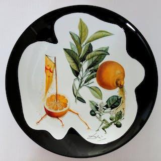 DALI Salvador : Pamplemousse érotique - Plat en Porcelaine original SIGNE &N°