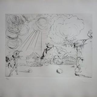 Salvador DALI (1904-1989) Plage à Cadaques Pointe sèche originale signée