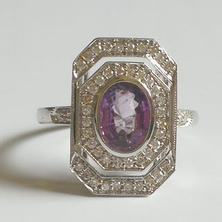 BAGUE en or 750 / 1000 ( 18 carats ) Saphir rose et Diamants CERTIFICAT