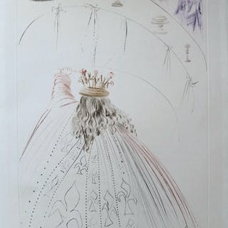 Salvador DALI : Les chevaliers du roi Arthur - Gravure originale Signée