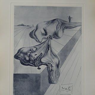 Salvador Dali : Les hommes qui s'entre-dévorent, Gravure originale signée