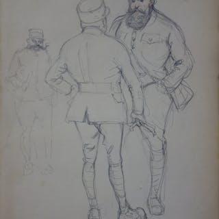 Georges CONRAD : Etude des soldats, Dessin original, signé