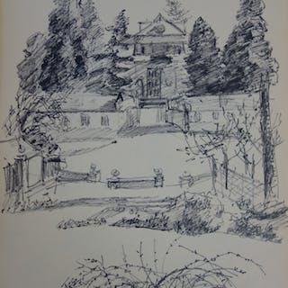 Jules CAVAILLES : Maison au fond du parc - Grand dessin original